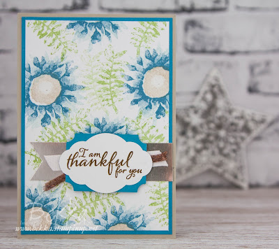 Beautiful Blue Floral Thank You Card Featuring Painted Harvest Stamps from Stampin' Up! UK which you can buy here