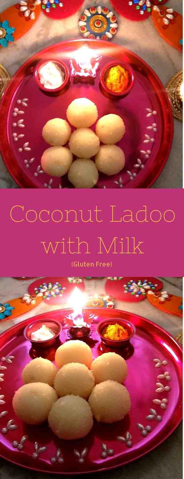 Coconut ladoo with milk