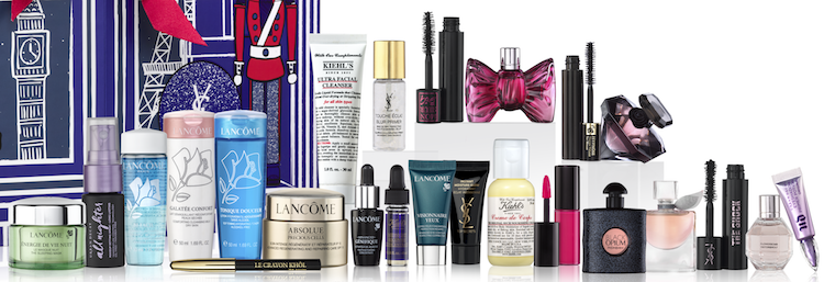 contents of the Selfridges Luxury 24-Day Beauty Advent Calendar for Holiday 2017.