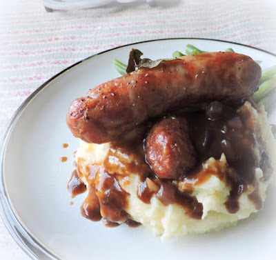 Sage Roasted Bangers with Mash and Onion Gravy