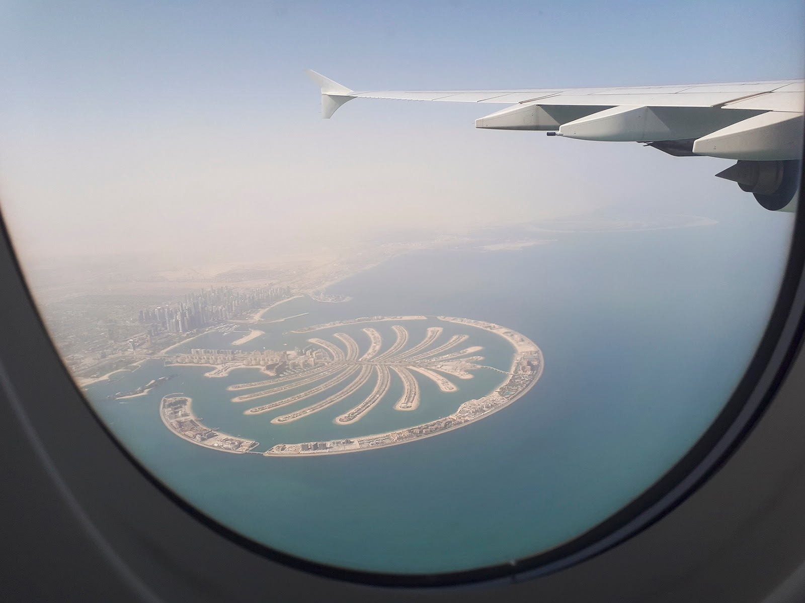dubai palm tree plane bird's eye view
