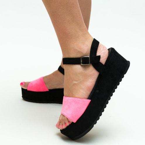 Sandale negre-fuchisa cu talpa inalta moderne