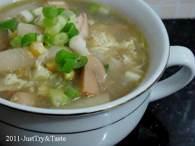 Resep Sup Ayam, Jagung Manis, Asparagus dan Jamur Kancing JTT