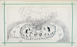 An illustration showing a circle of figures in pointed hats and clothes bearing skulls and crossbones. Inside the circle are several devils and a fire.