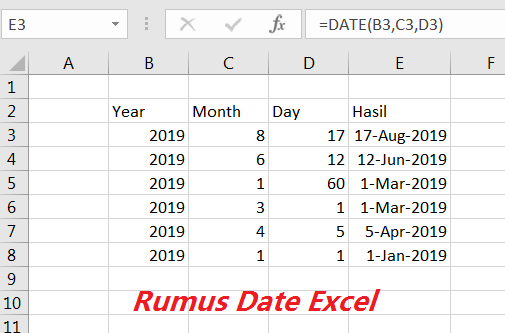 Rumus Excel Tanggal