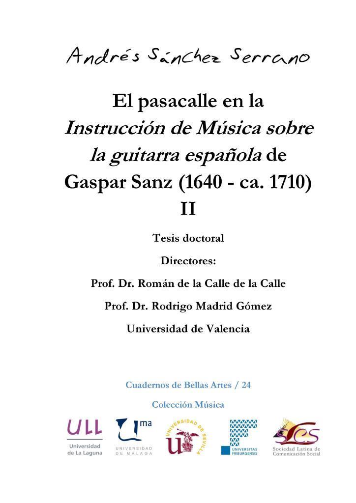 El pasacalle en la Instrucción de música sobre la guitarra española de Gaspar Sanz (1640 – ca. 1710), II