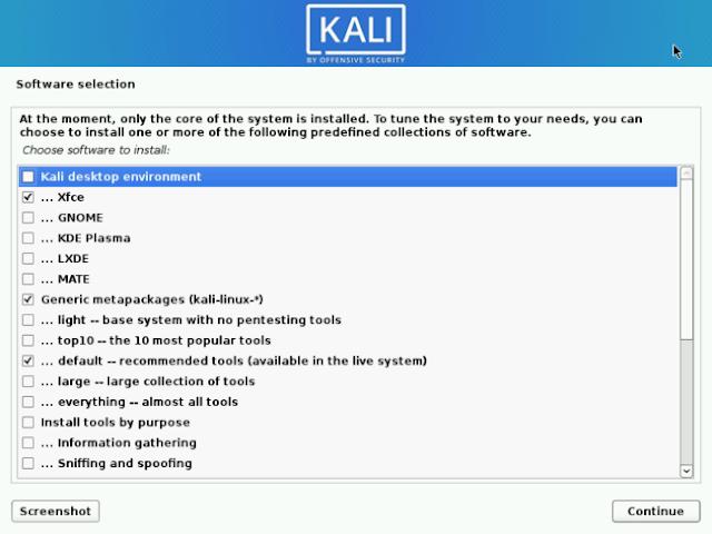 Pilih Paket Instalasi Kali Linux