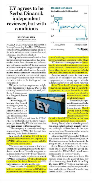 EY agrees to be Serba Dinamik independent reviewer, but with conditions