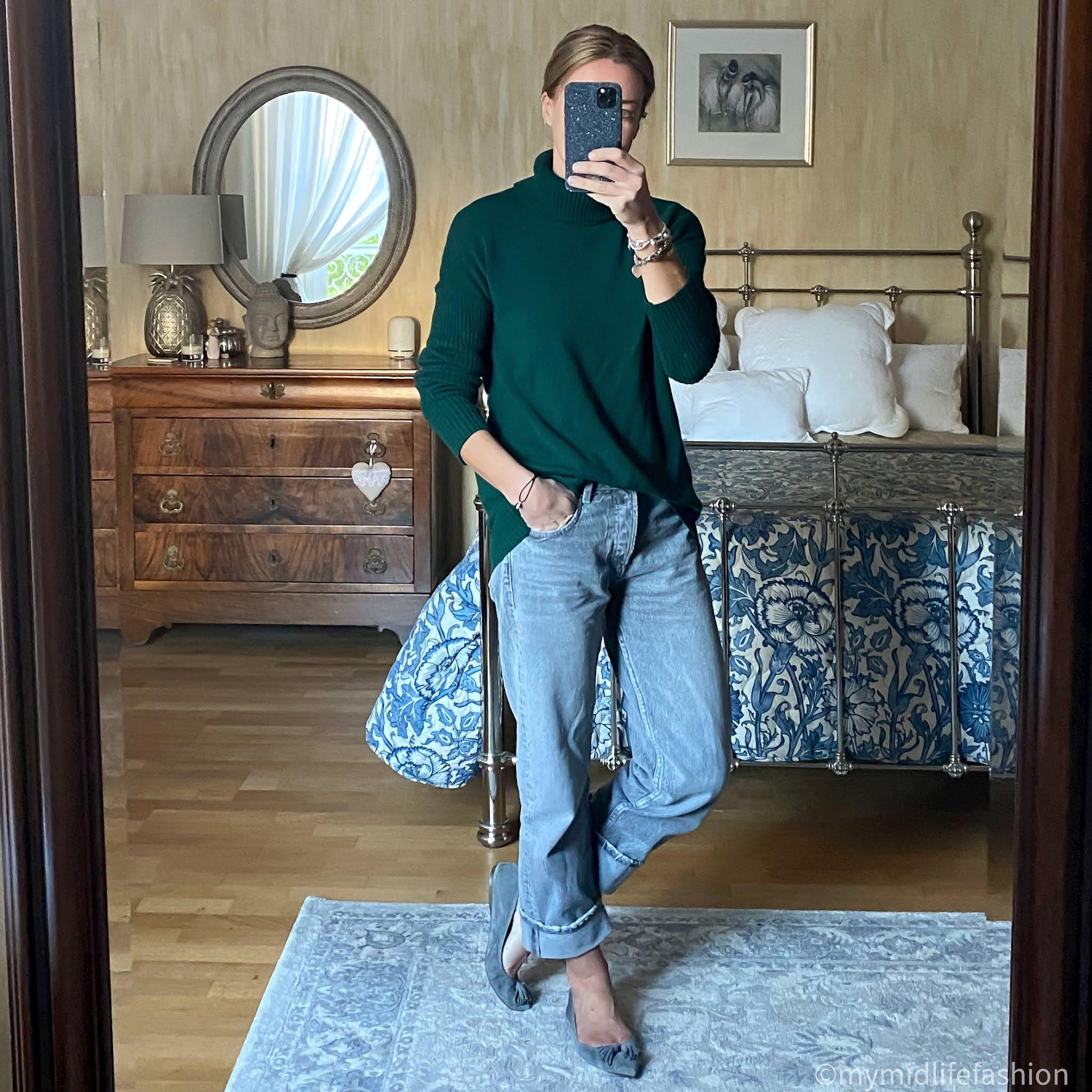 my midlife fashion, baukjen roll neck jumper, zballet pumpsara boyfriend jeans, j crew suede pointed flat