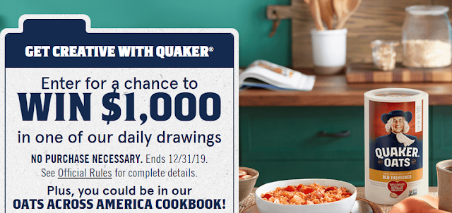 Quaker Oats wants you to share your delicious and ultra creative recipes with them for your shot at winning a thousand dollars cash in their daily drawings!