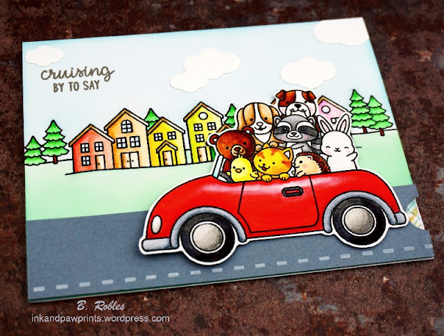 Sunny Studio Stamps: Cruising Critters Scenic Route Customer Card by Beatriz Robles