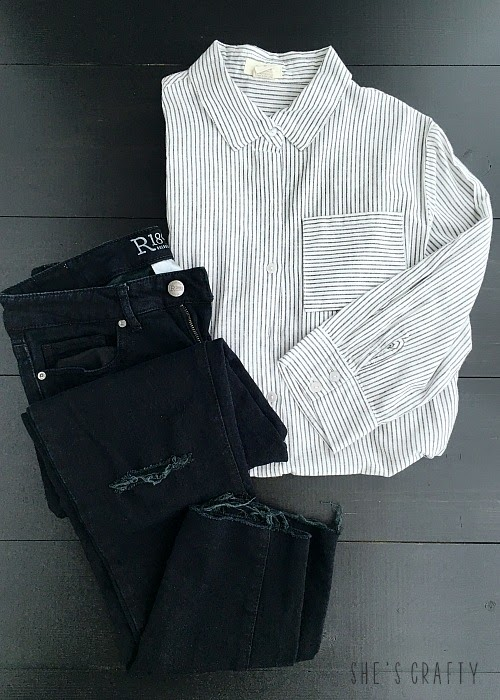 How to use Pinterest to help style clothes for moms - black jeans and striped buttondown
