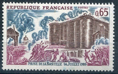 France stamp depicting the storming of the Bastille
