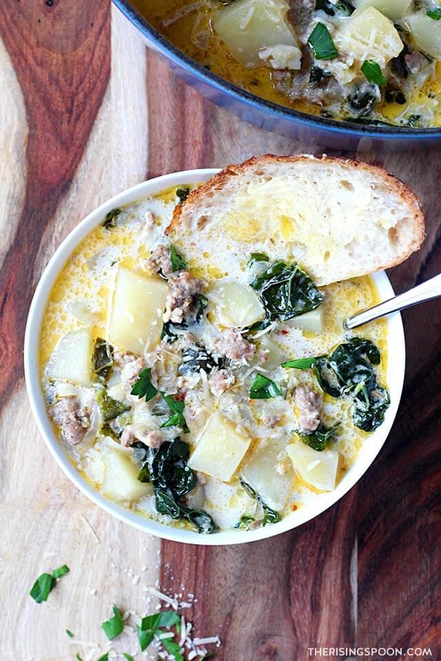 Spicy Italian Sausage & Potato Soup (Zuppa Toscana)