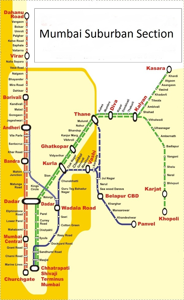 Harbour Line Map Vishal Pednekar: Western Railway & Harbour Line Map