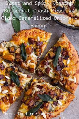 Sweet and Spicy Roasted Butternut Quash Pizza w/ Cider Caramelized Onions + Bacon.