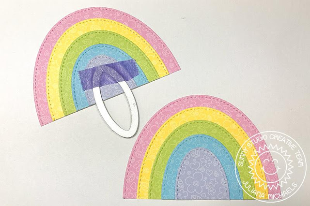 Sunny Studio Stamps: Prancing Pegasus Fluffy Cloud Border Dies Stitched Oval Dies Over The Rainbow Everyday Card by Juliana Michaels