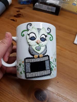 sowa, owl, cup, mug, kubek