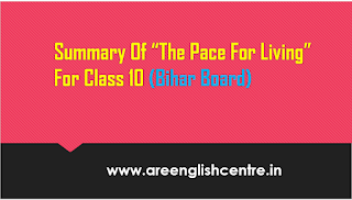 Summary of the Pace For living in Hindi for BSEB 10th students