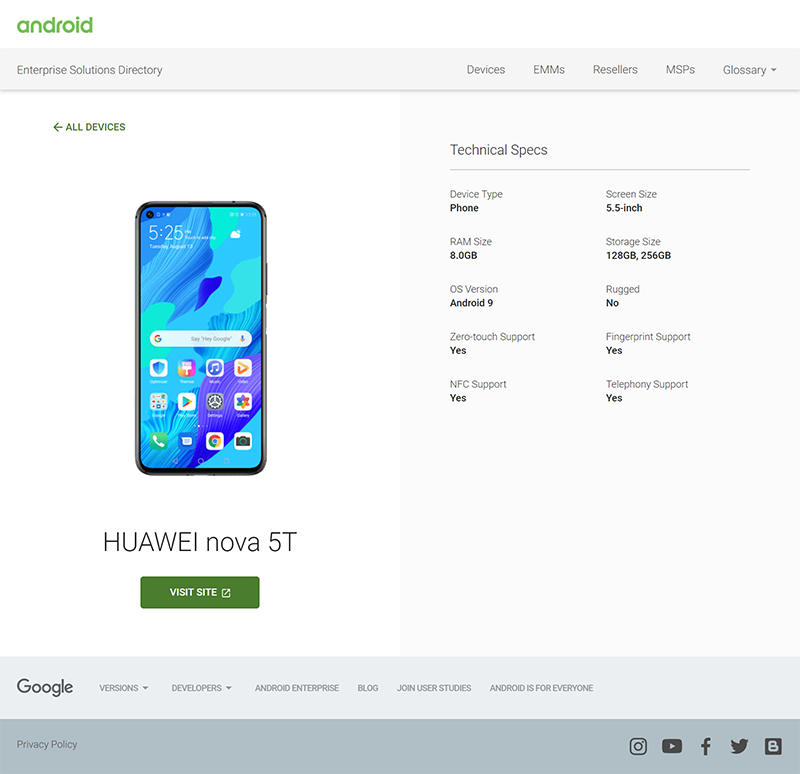 Android reveals key specs of Huawei Nova 5T!