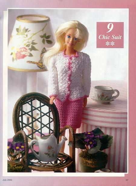Saia e blusa de crochê para Barbie
