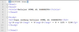 Tutorial Text HTML : Cara Menulis Persamaan atau Pangkat Matematis di dalam Html