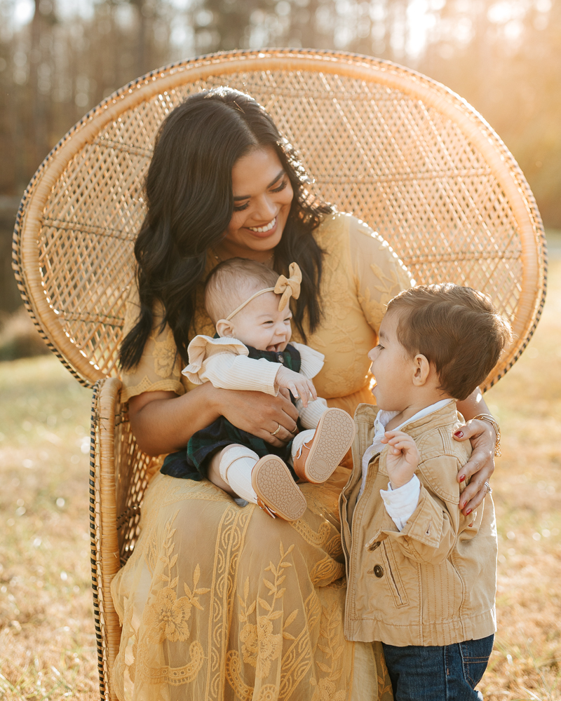 sunset family session in a field nc photography