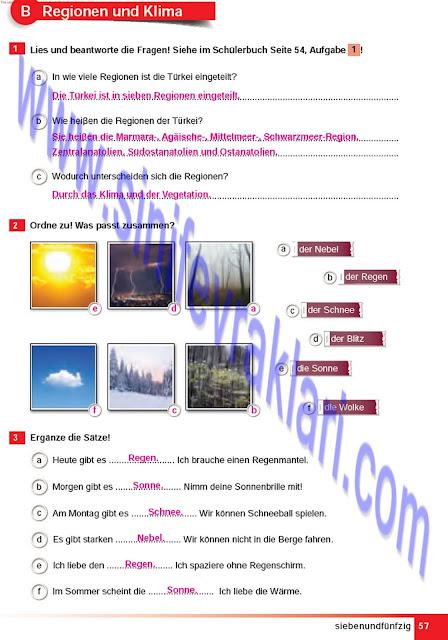 Almanca A1.2 Çıpa Yayınları Çalışma Kitabı Cevapları Sayfa 57