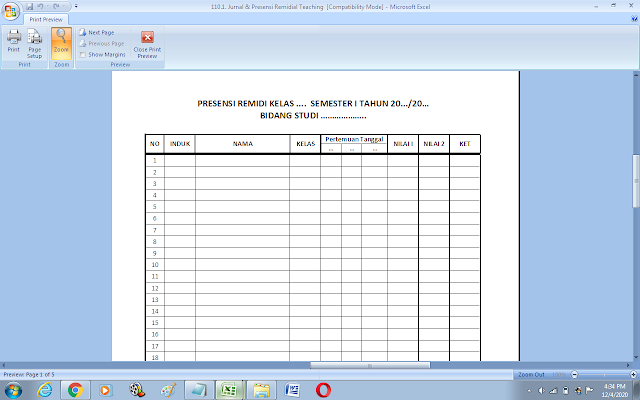 Format jurnal dan presensi remedial teaching