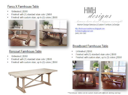 HMH Designs | Now Making Custom Farmhouse Tables
