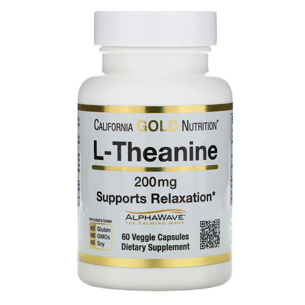 California Gold Nutrition, AlphaWave, L-теанин, поддерживает расслабление и спокойную концентрация, 200 мг, 60 растительных капсул
