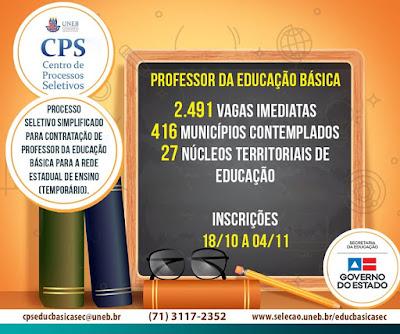 SEC-BA abre 2.491 vagas para Professor REDA