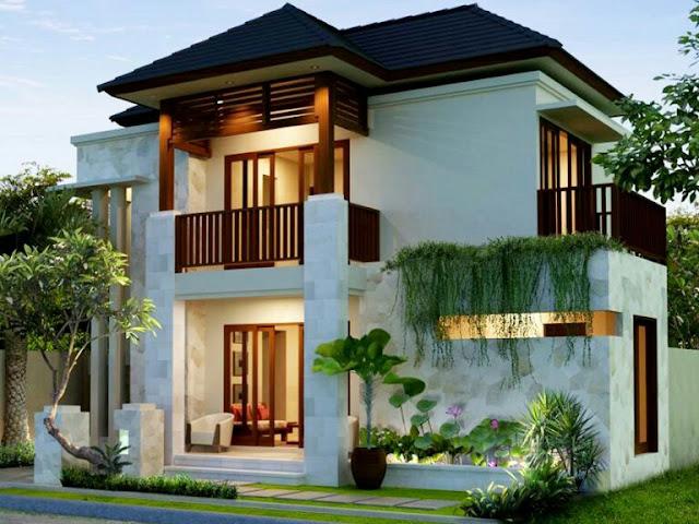 2-storey house design with a minimalist garden