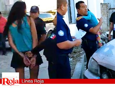 Una Mujer estuvo a punto de arrojar al vació a su hija desde el puente de Playa del Carmen