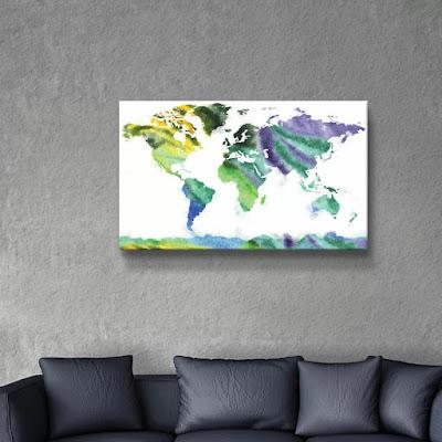 Bestselling watercolor World Map Silhouette  by  artist Irina Sztukowski