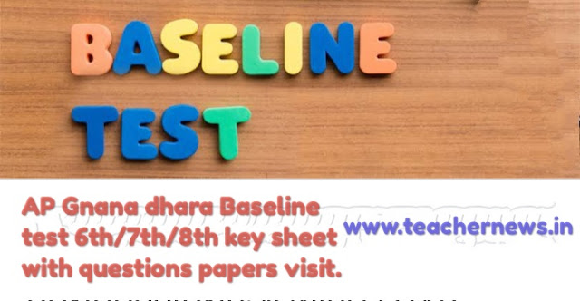 AP Gnana dhara Baseline Test Answer Key for 6th/ 7th/ 8th key sheet with questions papers