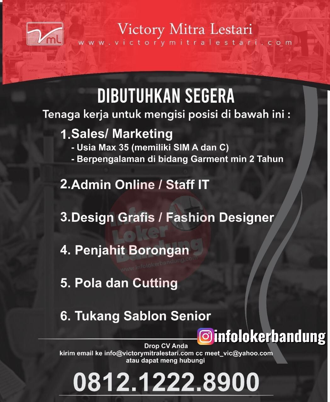 Lowongan Kerja CV. Victory Mitra Lestari Bandung Desember 2019