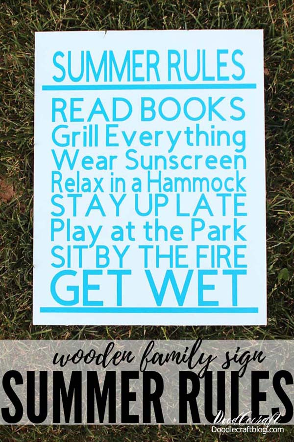 Summer Rules Cricut Vinyl Wood Sign DIY