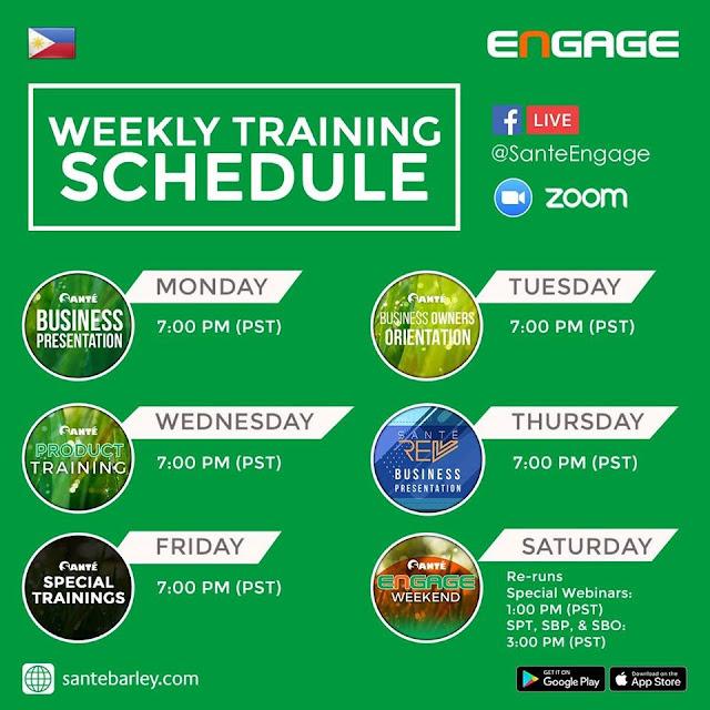 Santé weekly training schedule