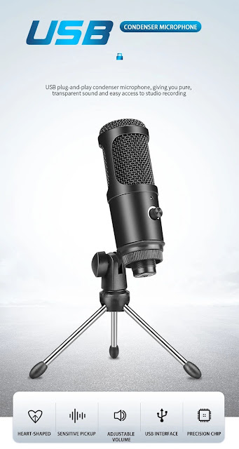 RODD AK-50 USB Condenser Microphone Cardioid Studio Recording Vocals Voice Microphone Volume Control with Foldable Tripod For Mac Laptop PC Computer
