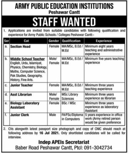 Army Public Education Institutions Peshawar Jobs 2021