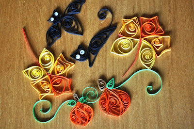 Beginners quilling for fall, Halloween and Thanksgiving.