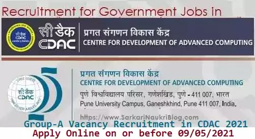 CDAC Group-A Vacancy Recruitment 2021