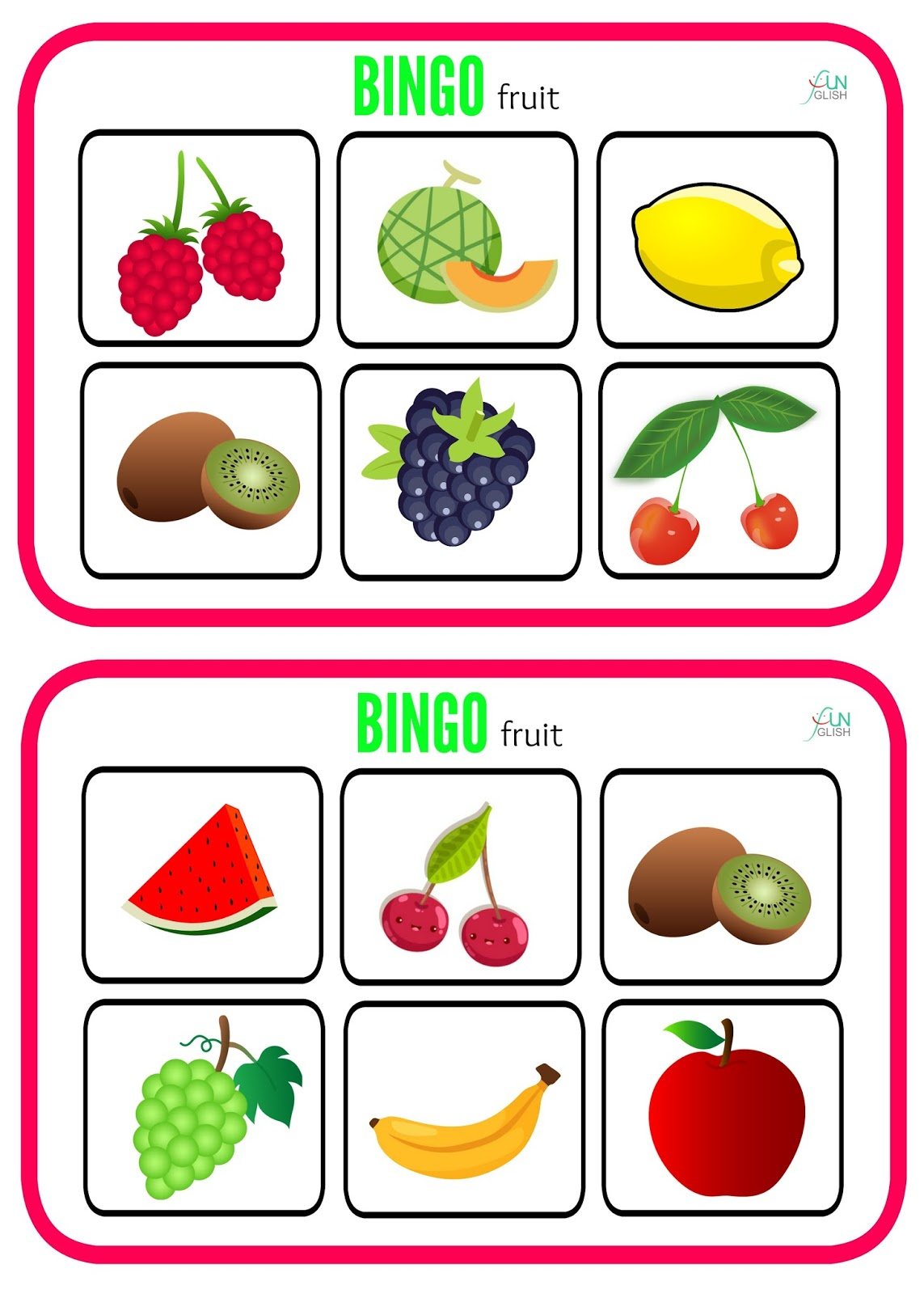 Fruit Bingo Memory Worksheet