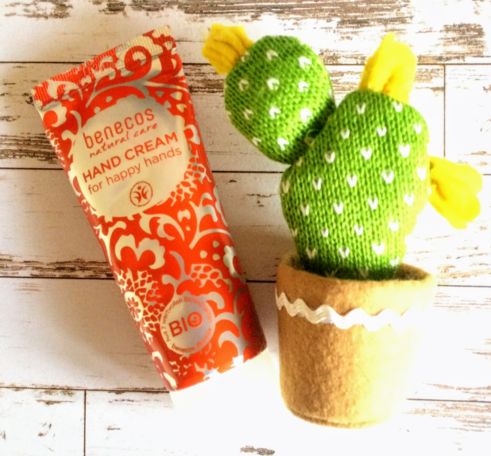 benecos hand cream and a knitted cactus