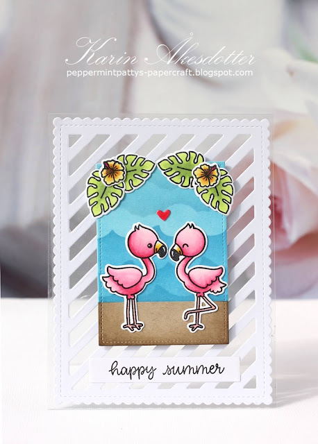 Sunny Studio Stamps: Silly Sloths Fabulous Flamingos Frilly Frames Dies Birthday Card Summer Card by Karin Åkesdotter