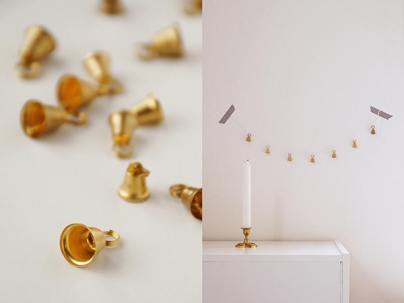 DIY goldene Girlande aus Glöckchen als Adventsdeko