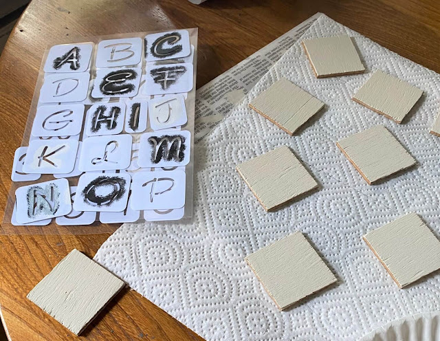 Photo of wooden squares painted white