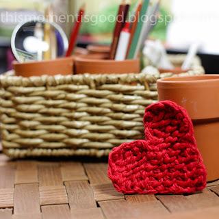 Loom knit heart pattern
