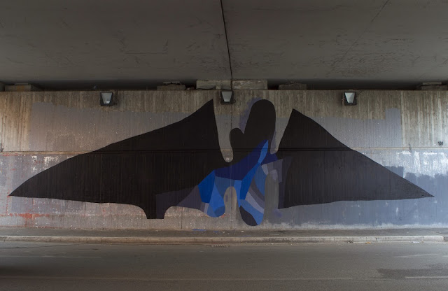 """Batman"" New Abstract Street Art Piece by Italian Artist 108 on the streets of Rome, Italy. 1"